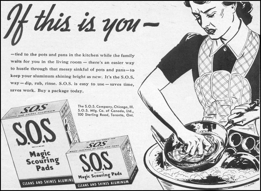 S.O.S MAGIC SCOURING PADS WOMAN'S DAY 06/01/1941 p. 49