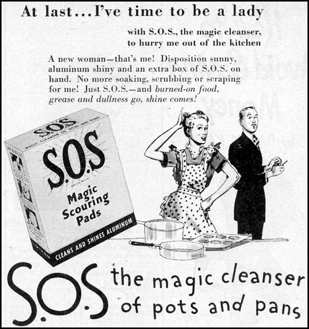 S.O.S MAGIC SCOURING PADS WOMAN'S DAY 06/01/1947 p. 75