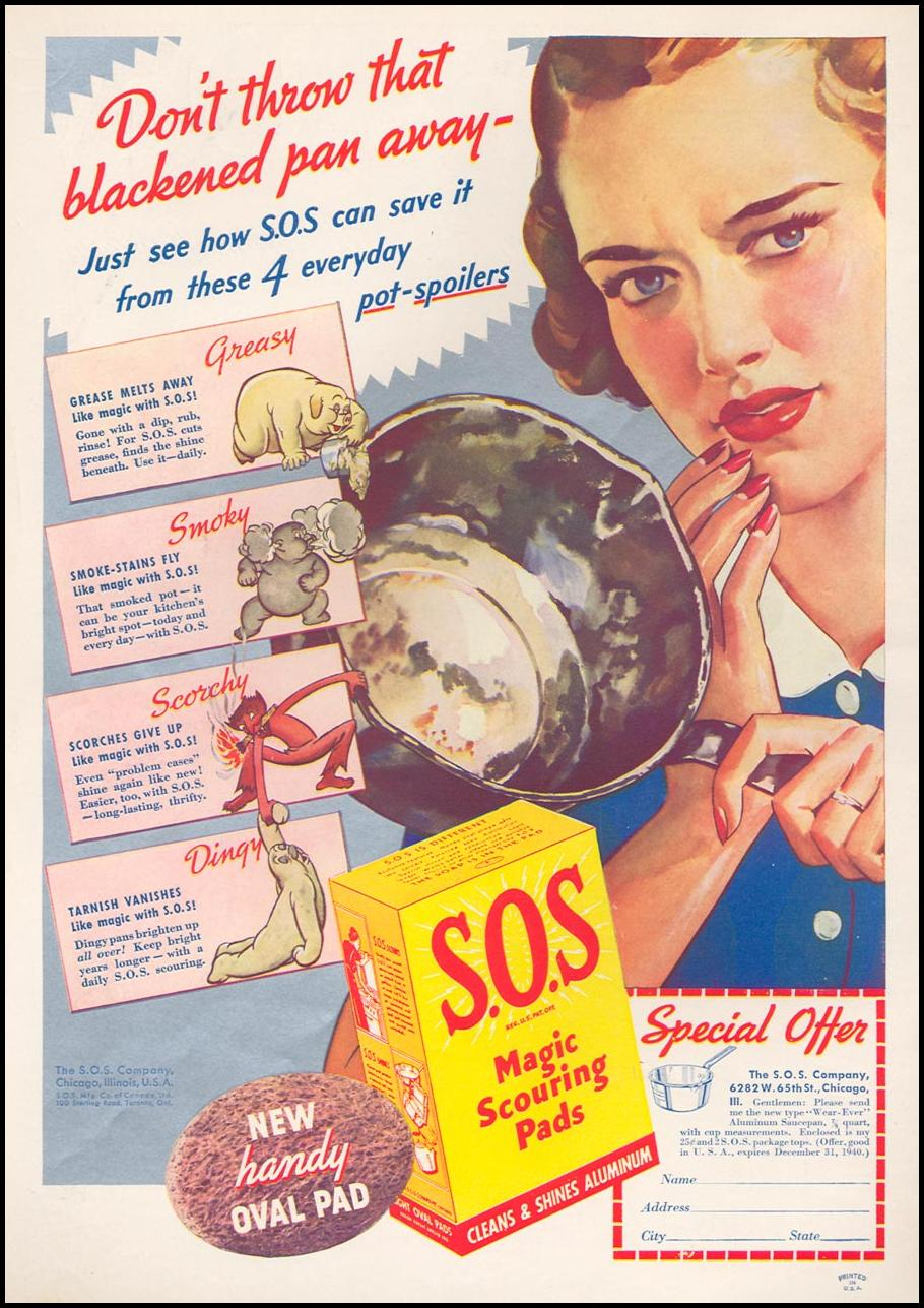 S.O.S MAGIC SCOURING PADS WOMAN'S DAY 09/01/1940 INSIDE FRONT