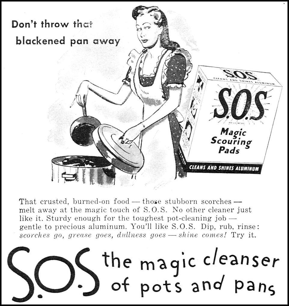 S.O.S MAGIC SCOURING PADS WOMAN'S DAY 09/01/1945 p. 62