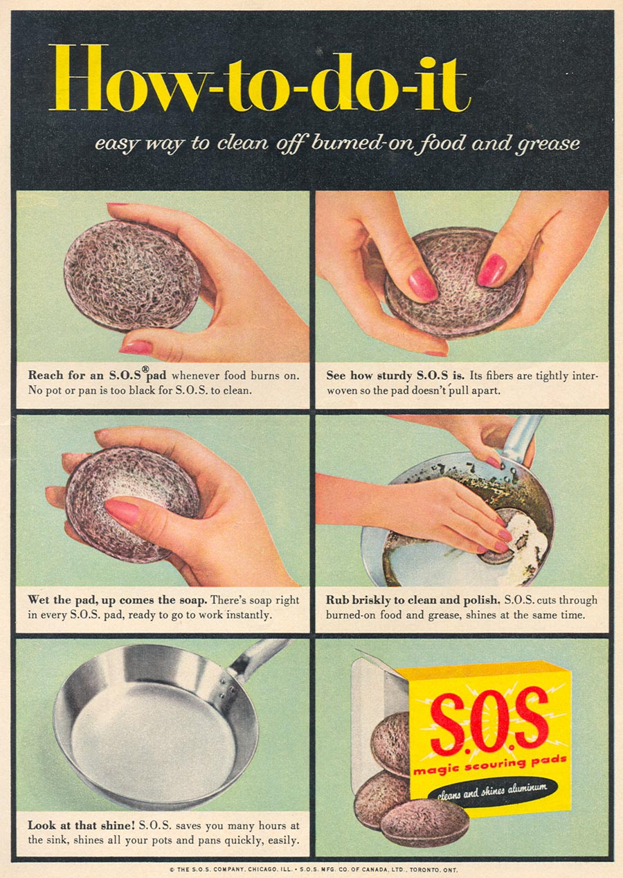 S.O.S MAGIC SCOURING PADS WOMAN'S DAY 09/01/1955 p. 57
