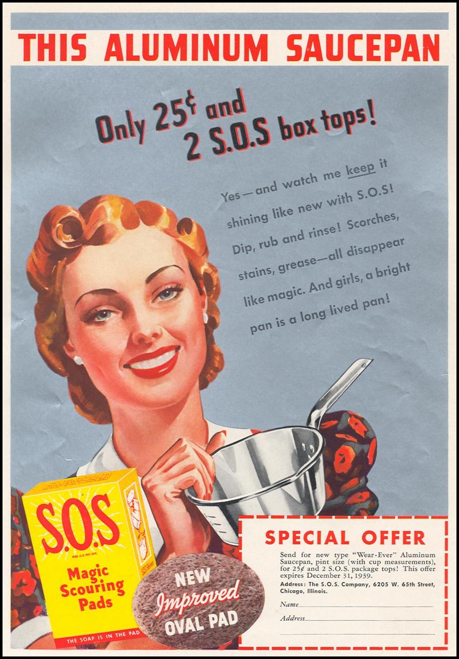 S.O.S MAGIC SCOURING PADS WOMAN'S DAY 10/01/1939 INSIDE FRONT