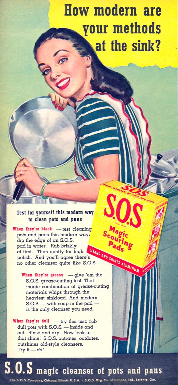 S.O.S MAGIC SCOURING PADS WOMAN'S DAY 10/01/1946 p. 16