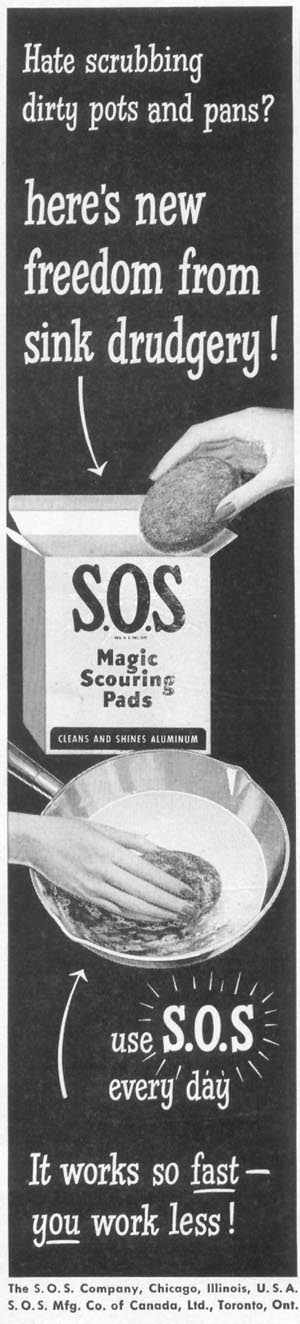 S.O.S MAGIC SCOURING PADS WOMAN'S DAY 10/01/1949 p. 96