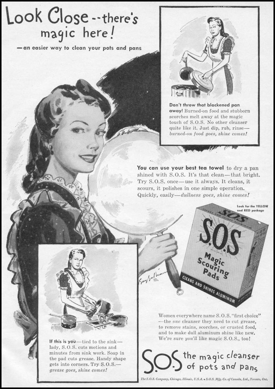 S.O.S MAGIC SCOURING PADS WOMAN'S DAY 11/01/1945 p. 69