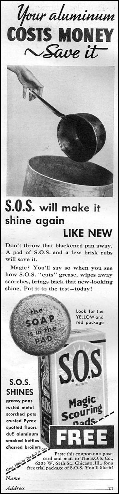 S.O.S MAGIC SCOURING PADS GOOD HOUSEKEEPING 04/01/1936 p. 225