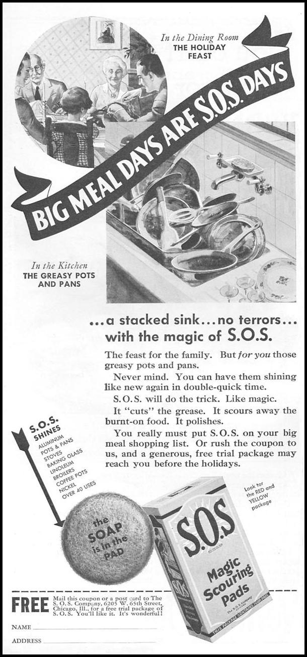 S.O.S MAGIC SCOURING PADS GOOD HOUSEKEEPING 12/01/1934 p. 176
