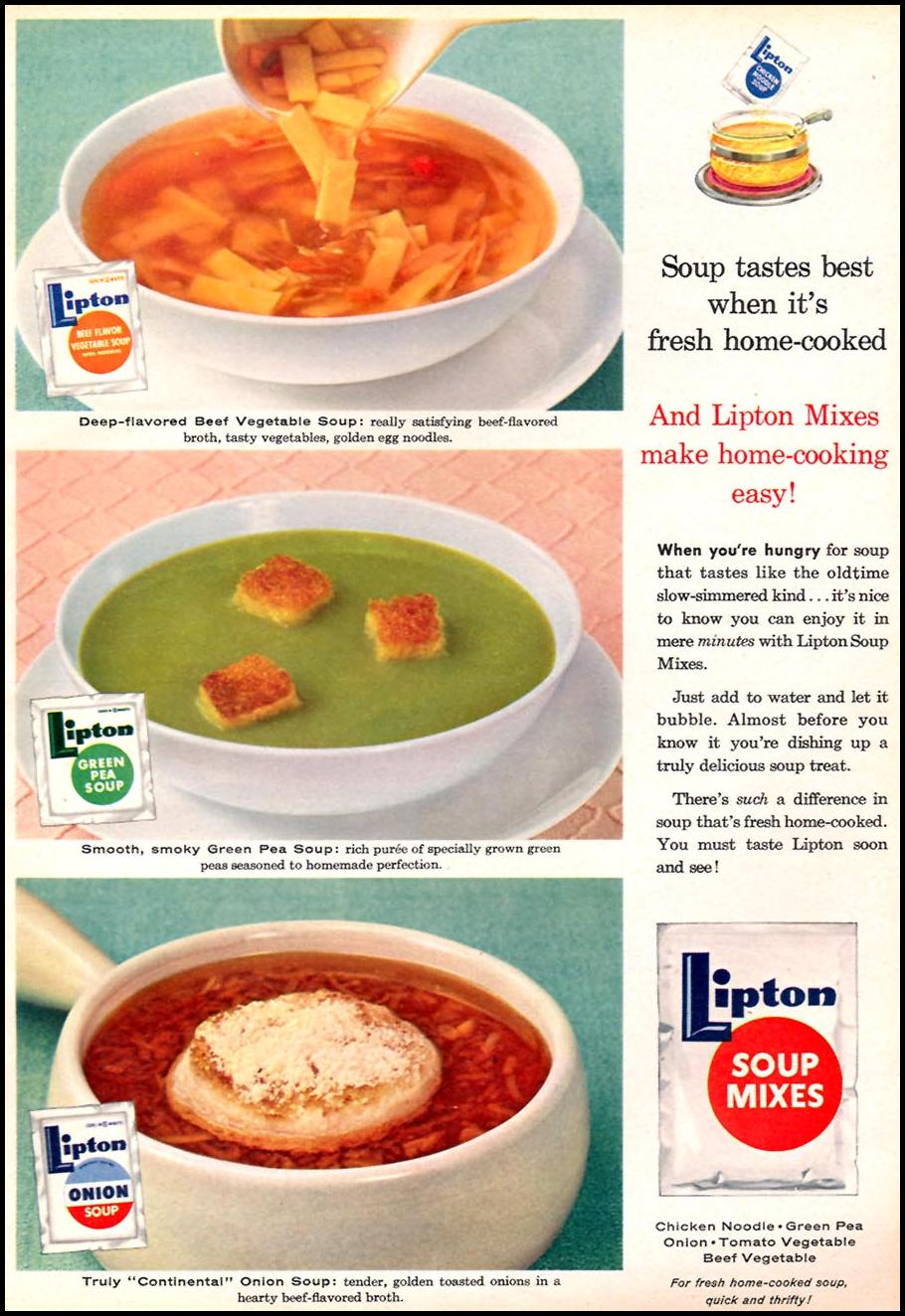 LIPTON SOUP MIXES FAMILY CIRCLE 02/01/1957 p. 51