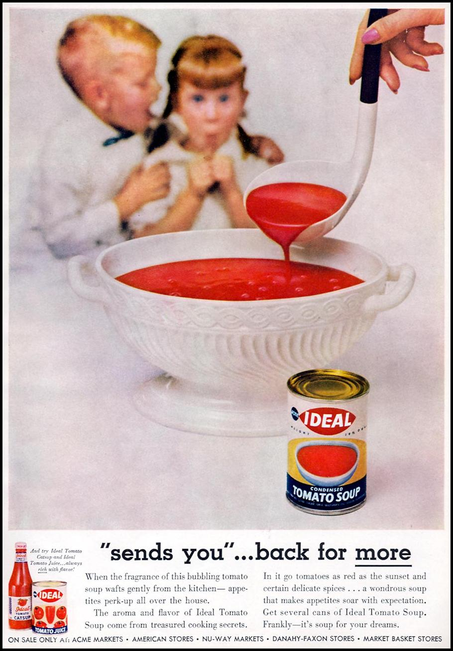 IDEAL BRAND TOMATO SOUP FAMILY CIRCLE 02/01/1957