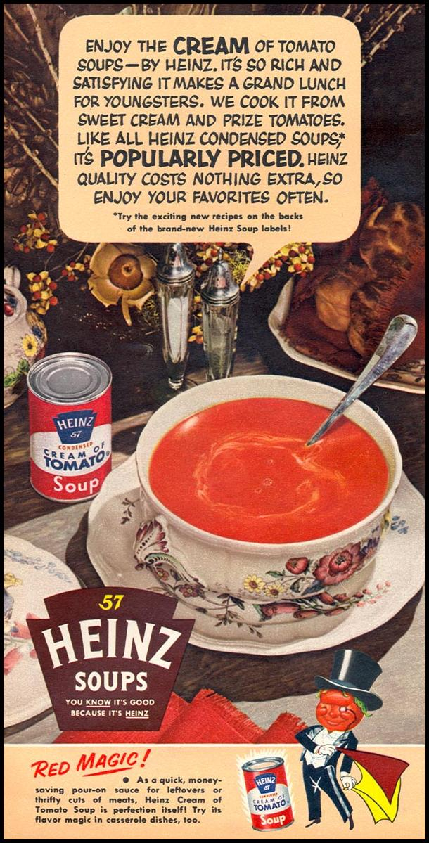 HEINZ CREAM OF TOMATO SOUP WOMAN'S DAY 02/01/1954 p. 122