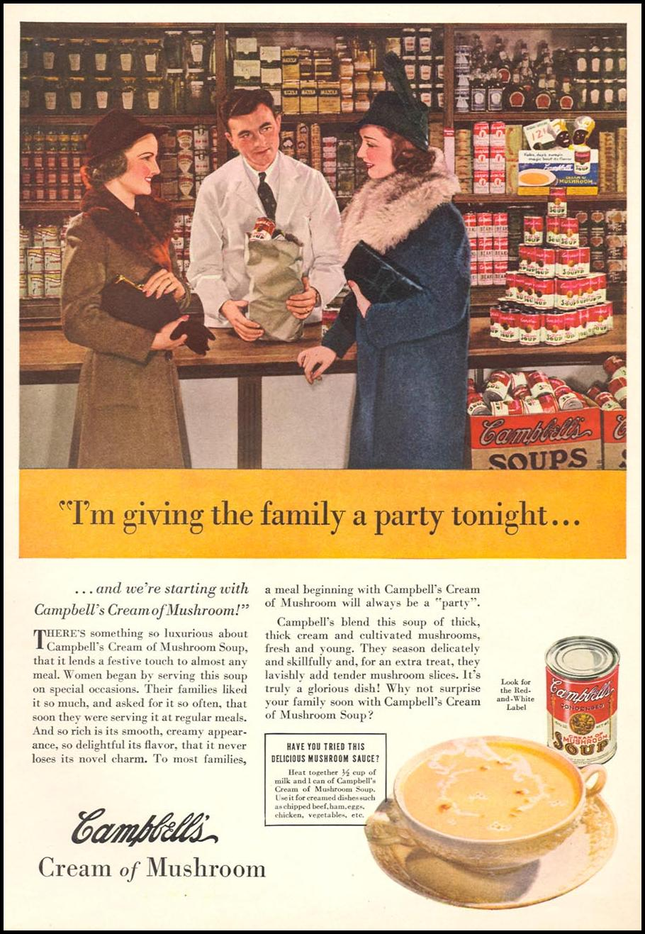 CAMPBELL'S CREAM OF MUSHROOM SOUP WOMAN'S DAY 03/01/1939