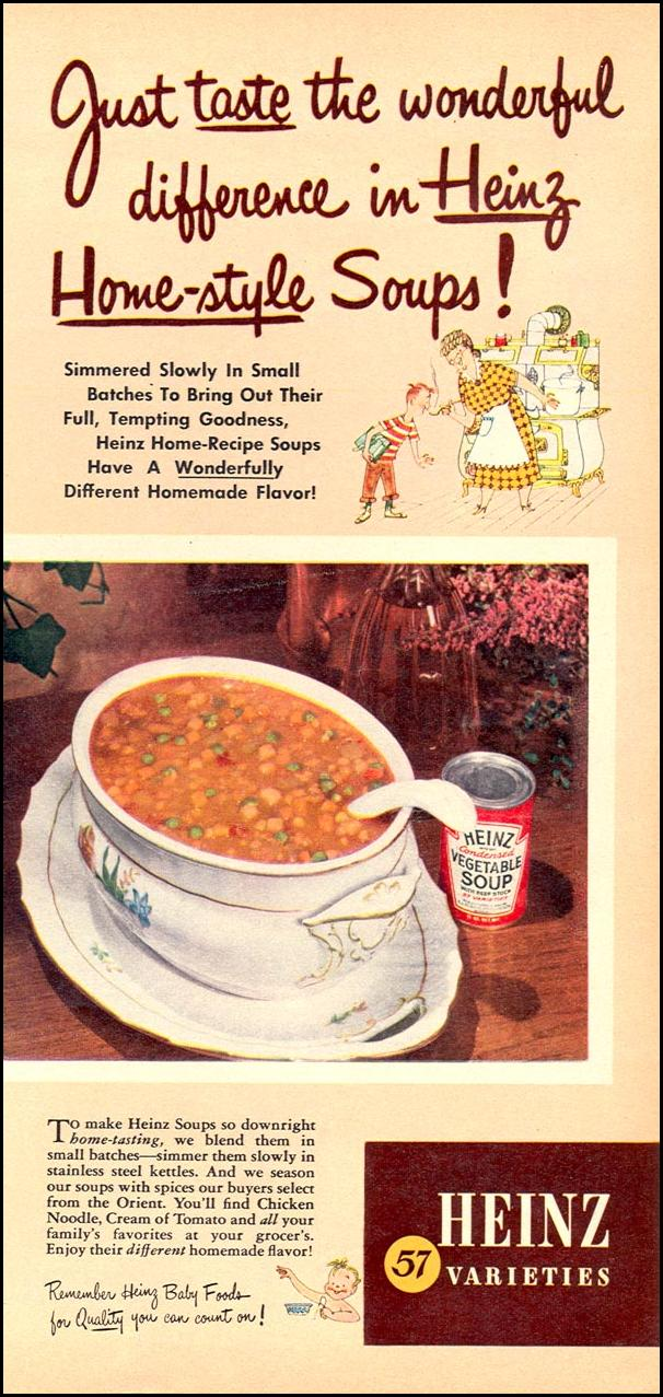 HEINZ HOME-STYLE SOUPS WOMAN'S DAY 10/01/1949 p. 11