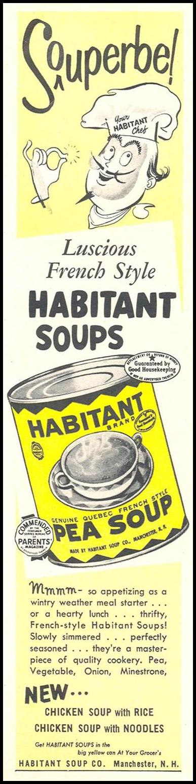 HABITANT GENUINE QUEBEC FRENCH STYLE PEA SOUP WOMAN'S DAY 12/01/1954 p. 128