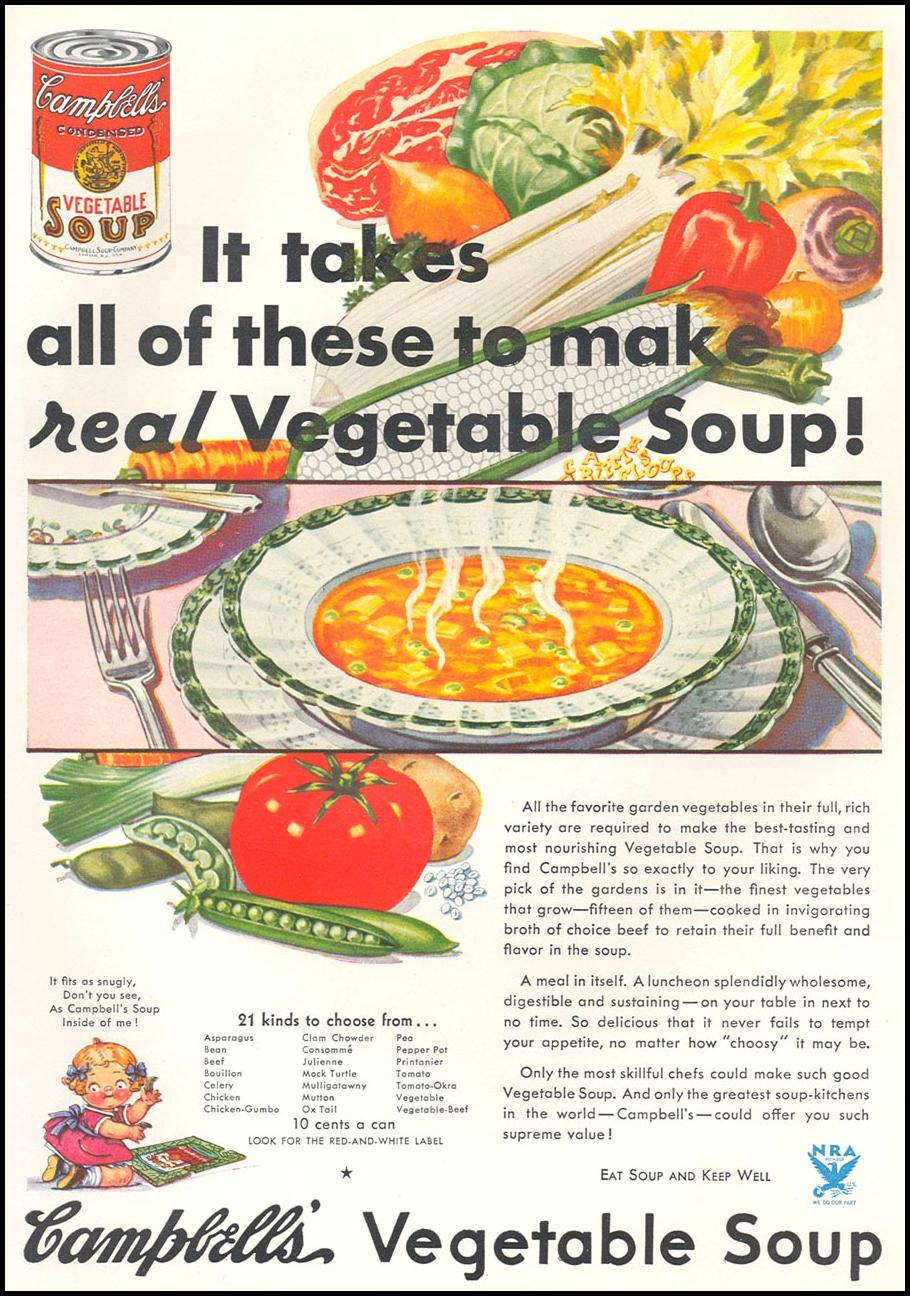 CAMPBELL'S SOUPS GOOD HOUSEKEEPING 12/01/1933 p. 91