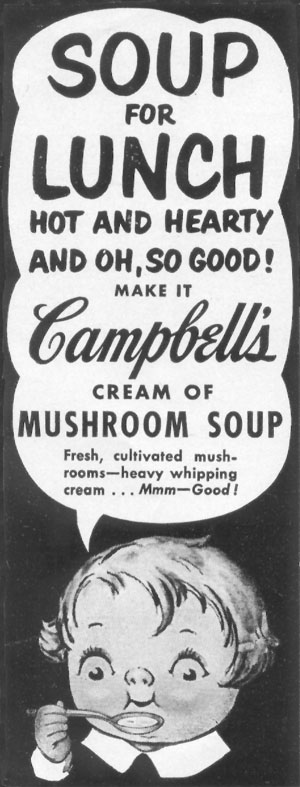 CAMPBELL'S CREAM OF MUSHROOM SOUP LIFE 06/16/1952 p. 76