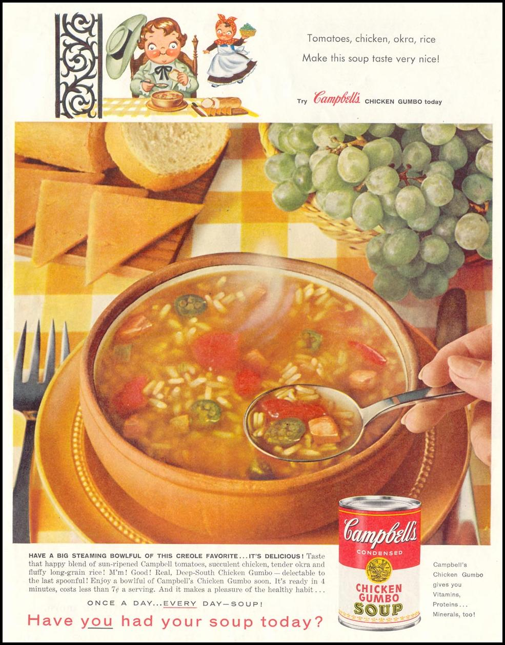 CAMPBELL'S CHICKEN GUMBO SOUP SATURDAY EVENING POST 05/02/1959