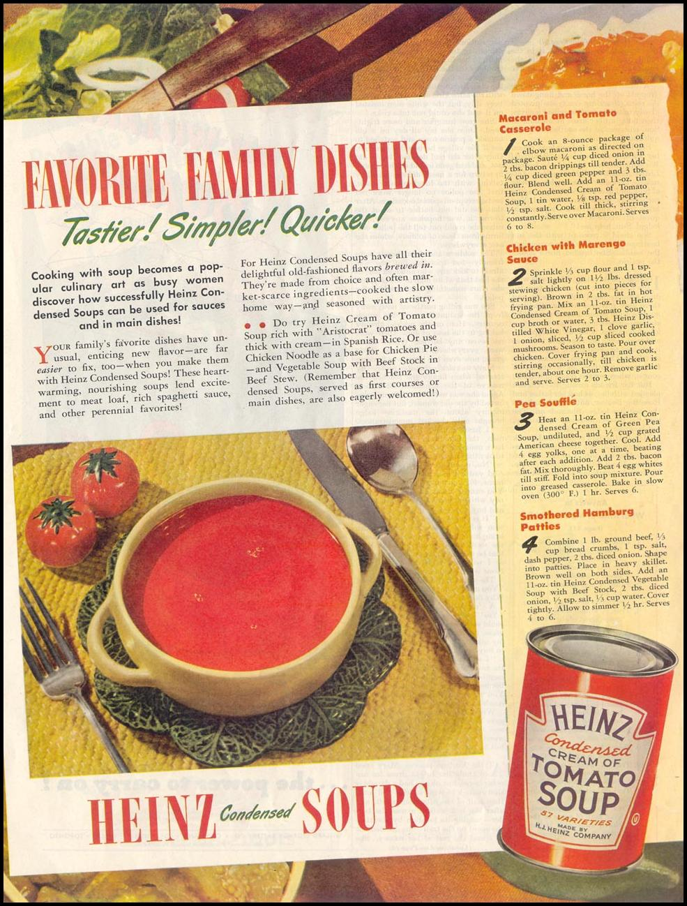 HEINZ CONDENSED SOUPS SATURDAY EVENING POST 10/06/1945 p. 66