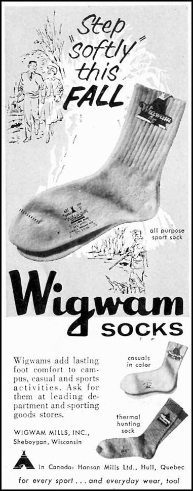 WIGWAM SOCKS SATURDAY EVENING POST 08/15/1959 p. 76
