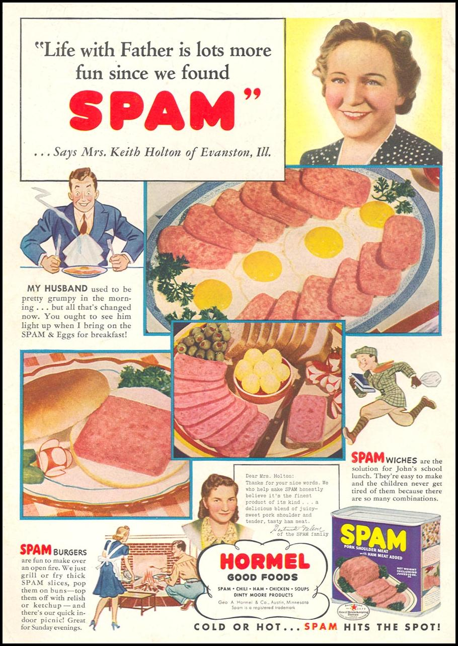 SPAM WOMAN'S DAY 01/01/1941 BACK COVER