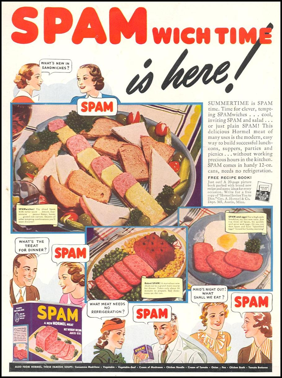SPAM WOMAN'S DAY 05/01/1939 BACK COVER