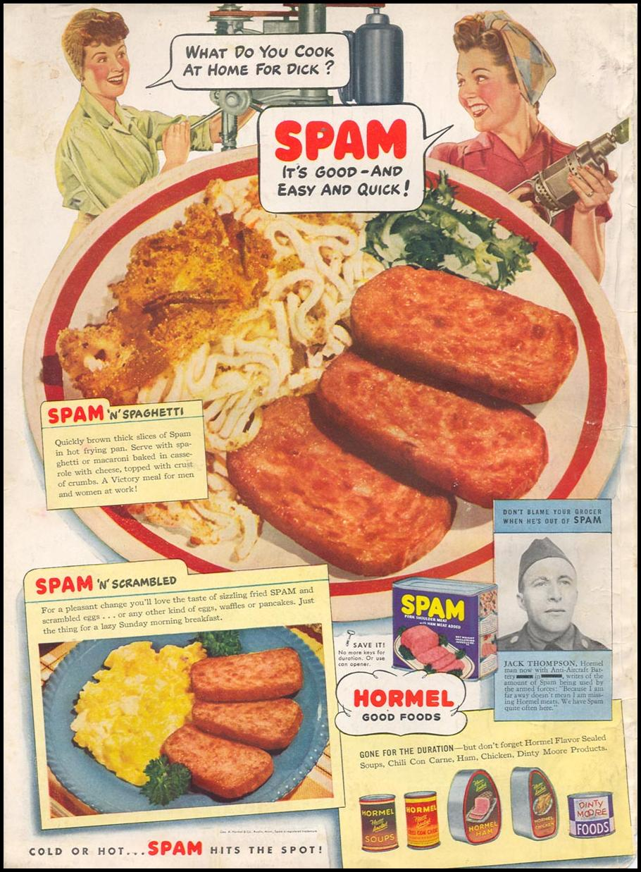 SPAM WOMAN'S DAY 05/01/1943 BACK COVER