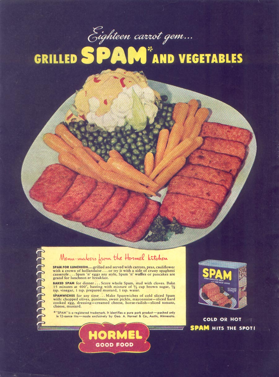 SPAM WOMAN'S DAY 05/01/1947 BACK COVER