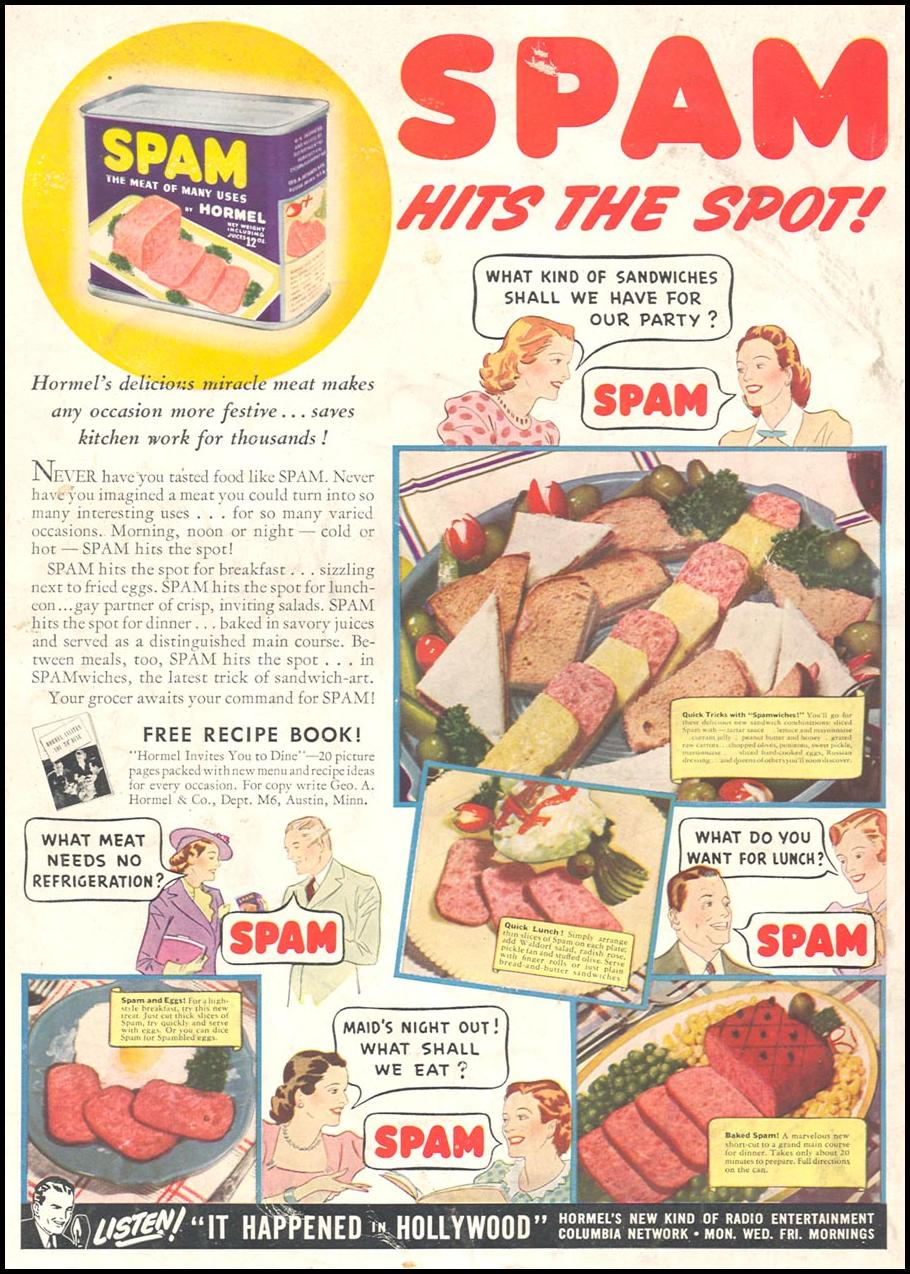 SPAM WOMAN'S DAY 06/01/1939 BACK COVER