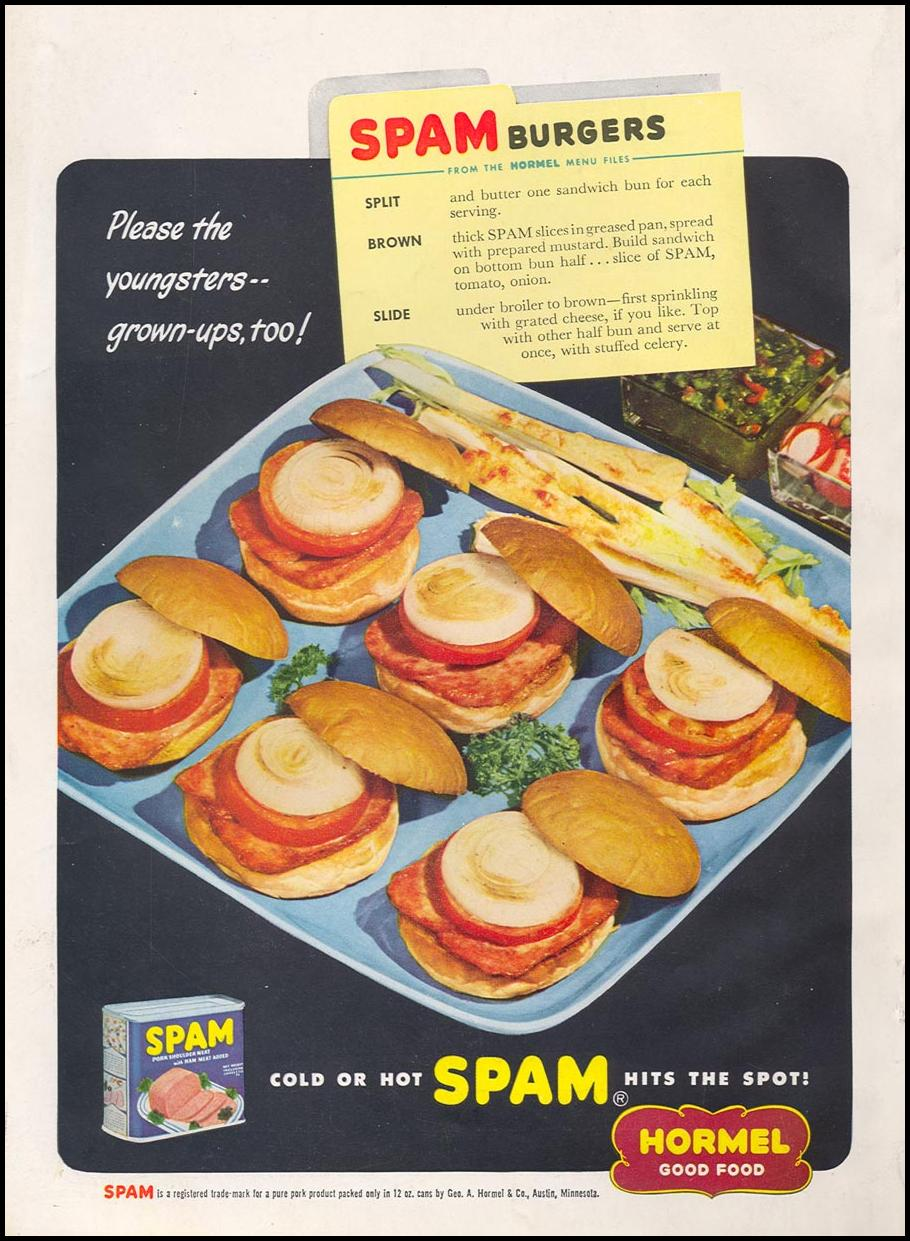 SPAM WOMAN'S DAY 07/01/1949 BACK COVER