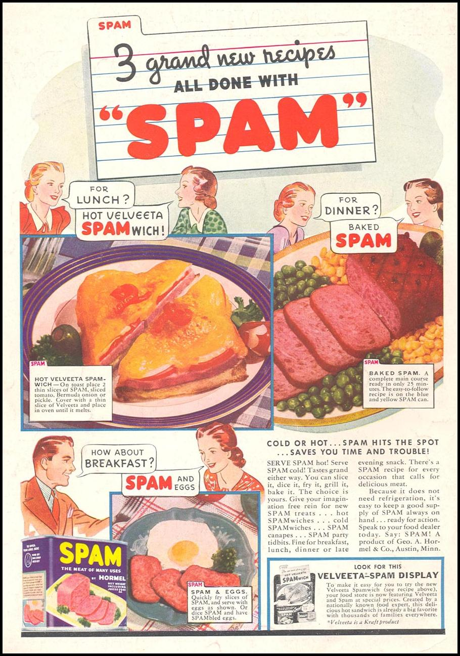 SPAM WOMAN'S DAY 11/01/1938 BACK COVER