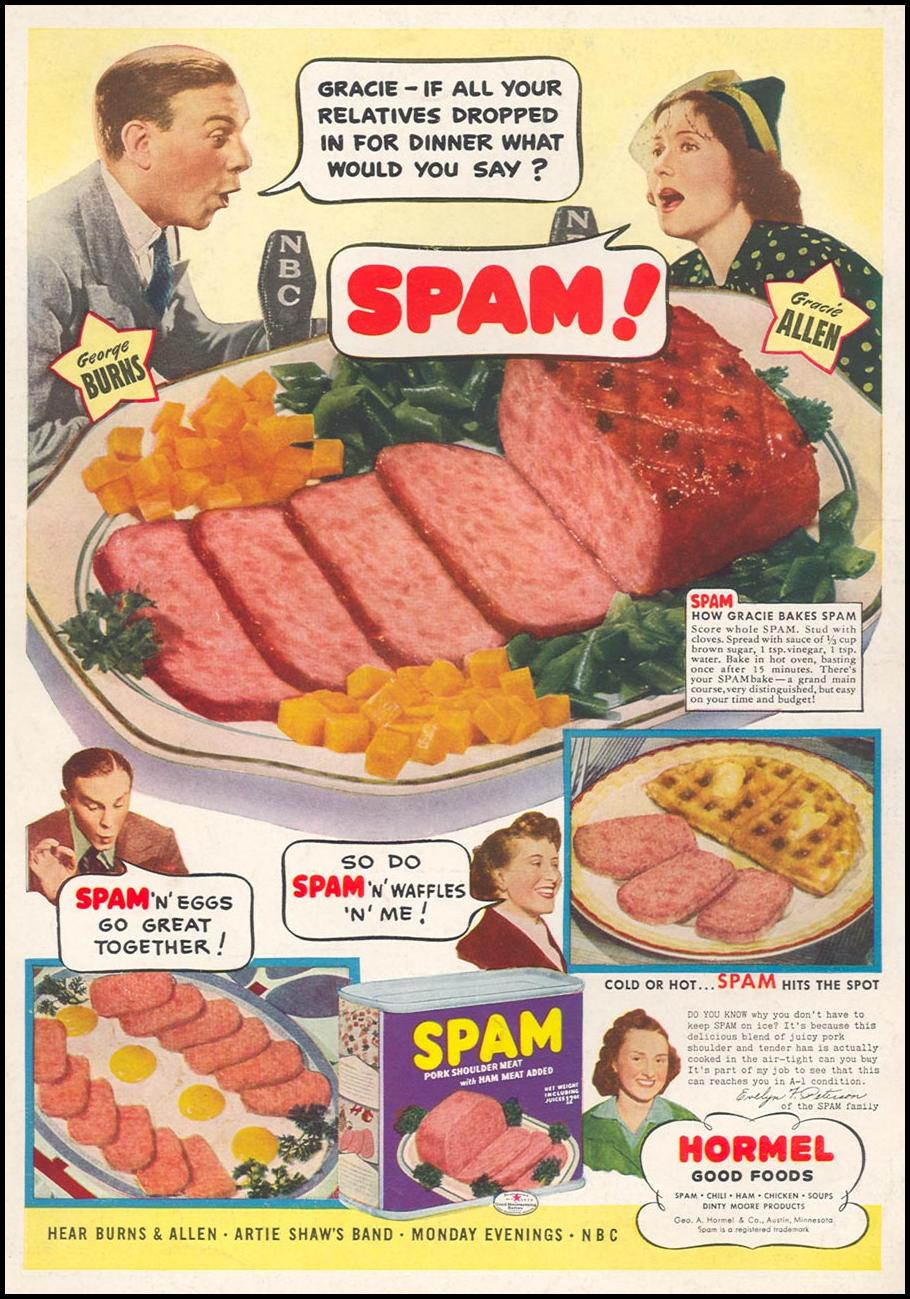 SPAM WOMAN'S DAY 11/01/1940 BACK COVER