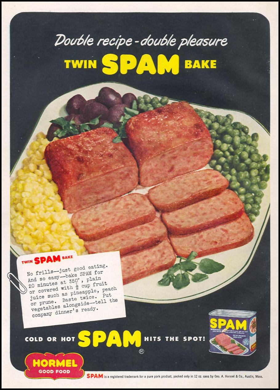 SPAM WOMAN'S DAY 12/01/1949 BACK COVER
