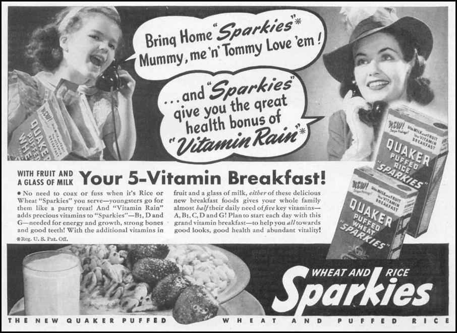 QUAKER SPARKIES PUFFED WHEAT AND RICE CEREAL WOMAN'S DAY 05/01/1941 p. 71