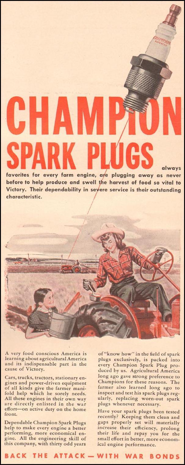 CHAMPION SPARK PLUGS LIFE 10/11/1943 p. 77