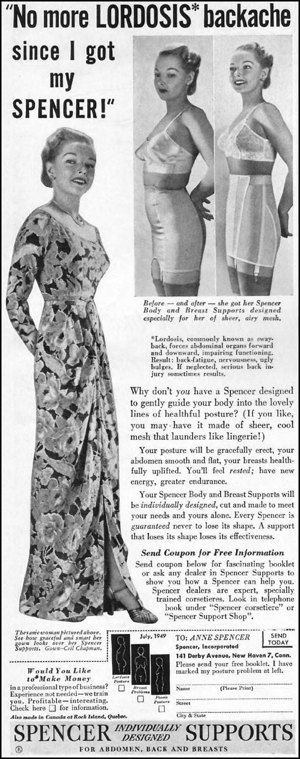 SPENCER SUPPORTS FOR ABDOMEN, BACK, AND BREASTS LADIES' HOME JOURNAL 07/01/1949 p. 110