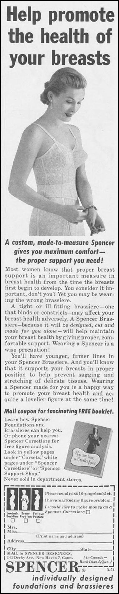 SPENCER FOUNDATIONS AND BRASSIERES LADIES' HOME JOURNAL 03/01/1954 p. 22