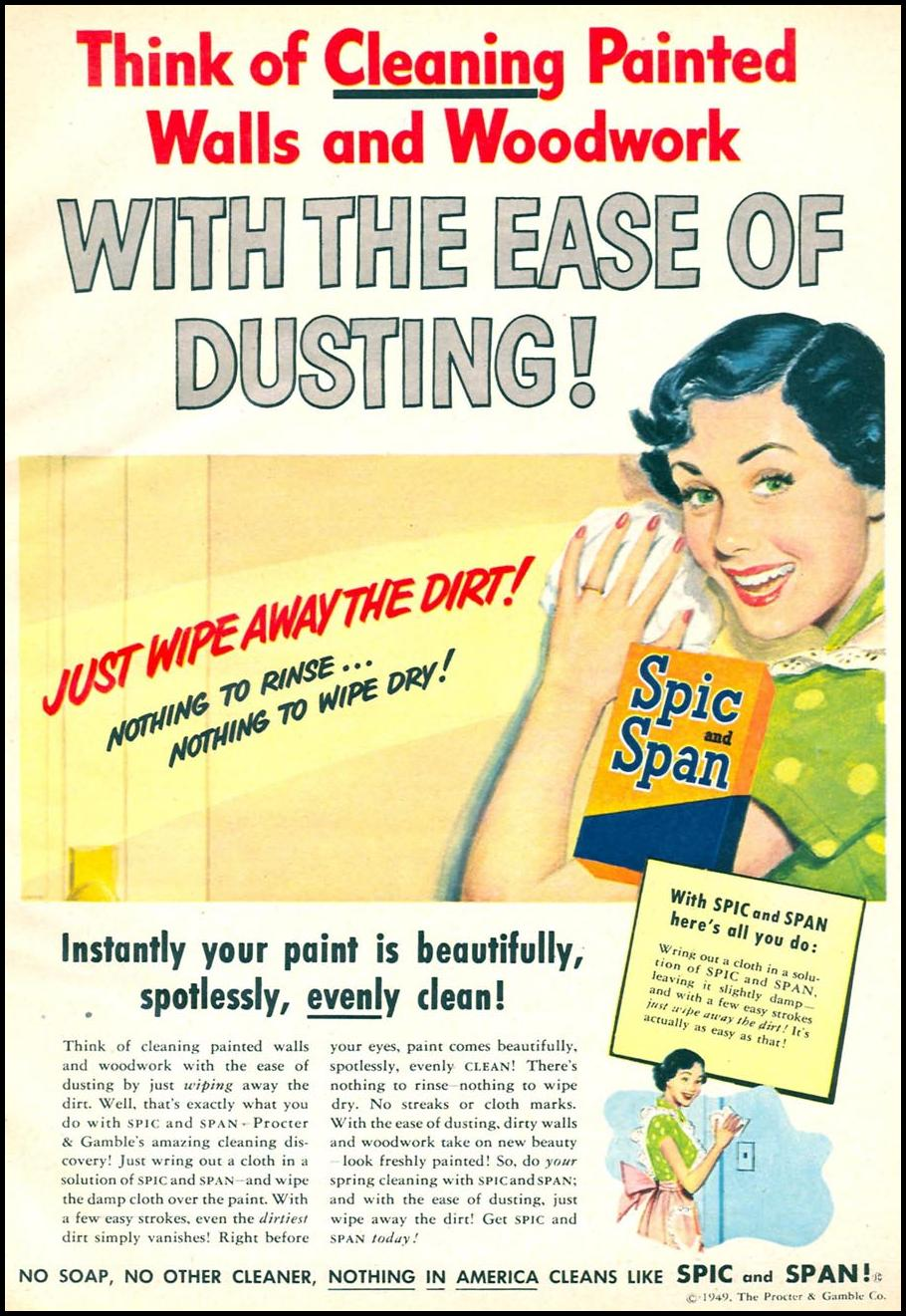 SPIC AND SPAN HOUSEHOLD CLEANER WOMAN'S DAY 04/01/1949 p. 9