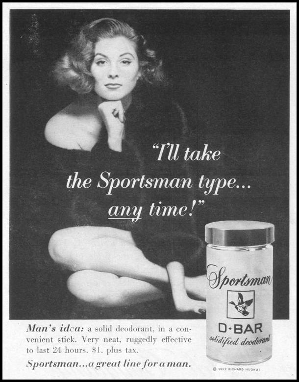 SPORTSMAN D-BAR SOLIDFIED DEODORANT LIFE 04/08/1957 p. 120