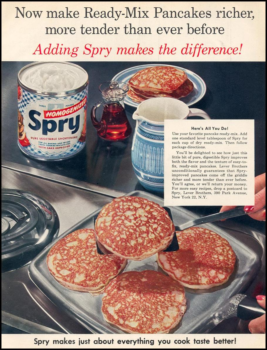 SPRY PURE HOMOGENIZED VEGETABLE SHORTENING WOMAN'S DAY 12/01/1954 p. 69