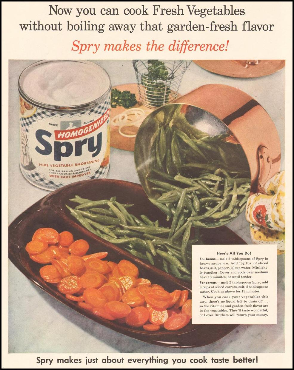 SPRY PURE VEGETABLE SHORTENING LADIES' HOME JOURNAL 07/01/1954 p. 10