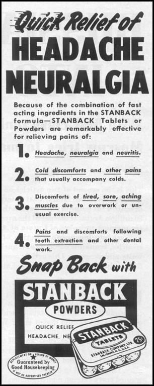 STANBACK ANALGESIC TABLETS AND POWDERS LIFE 04/08/1957 p. 136
