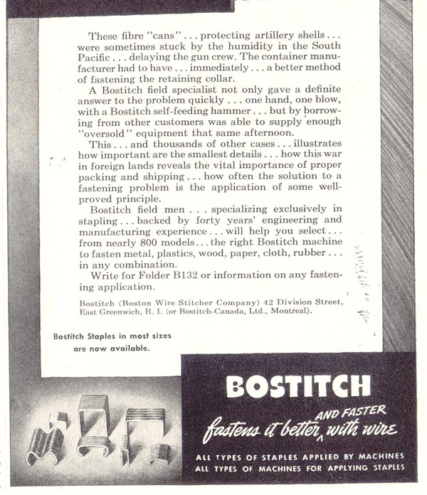 BOSTITCH STAPLES SATURDAY EVENING POST 05/19/1945 p. 91