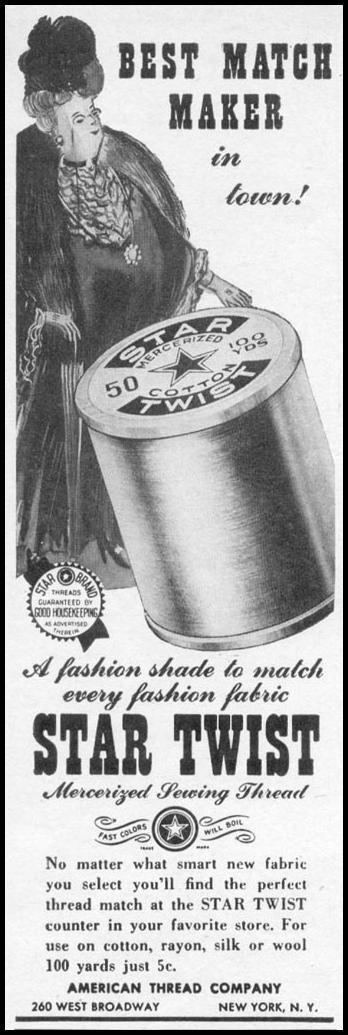 STAR TWIST MERCERIZED SEWING THREAD WOMAN'S DAY 06/01/1941 p. 66