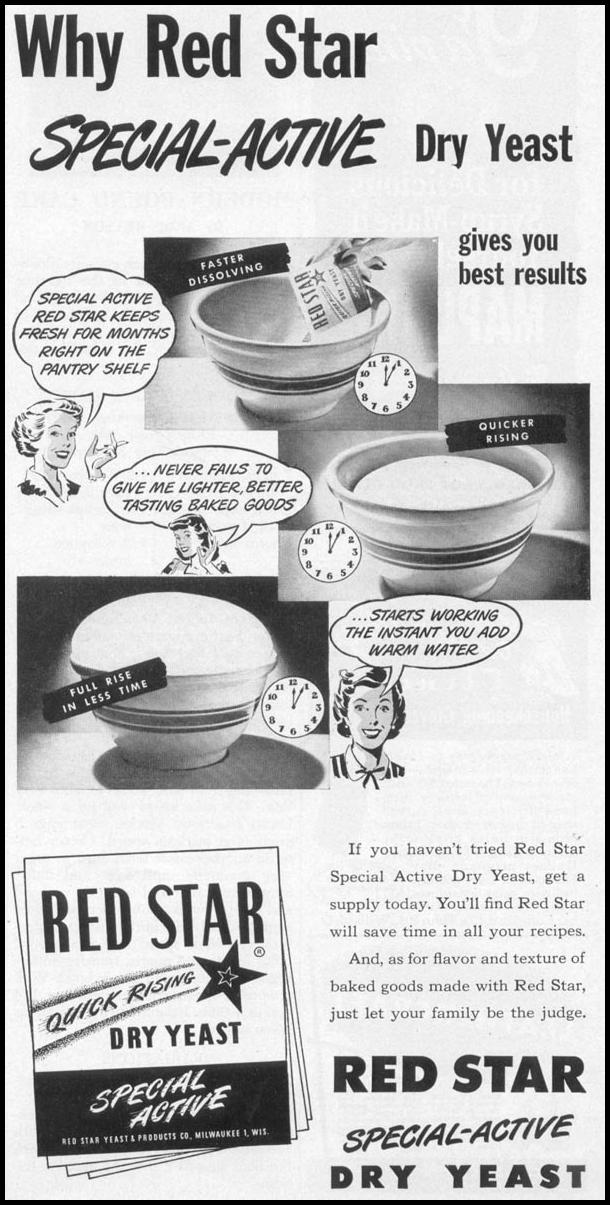 RED STAR SPECIAL-ACTIVE DRY YEAST WOMAN'S DAY 10/01/1949 p. 145
