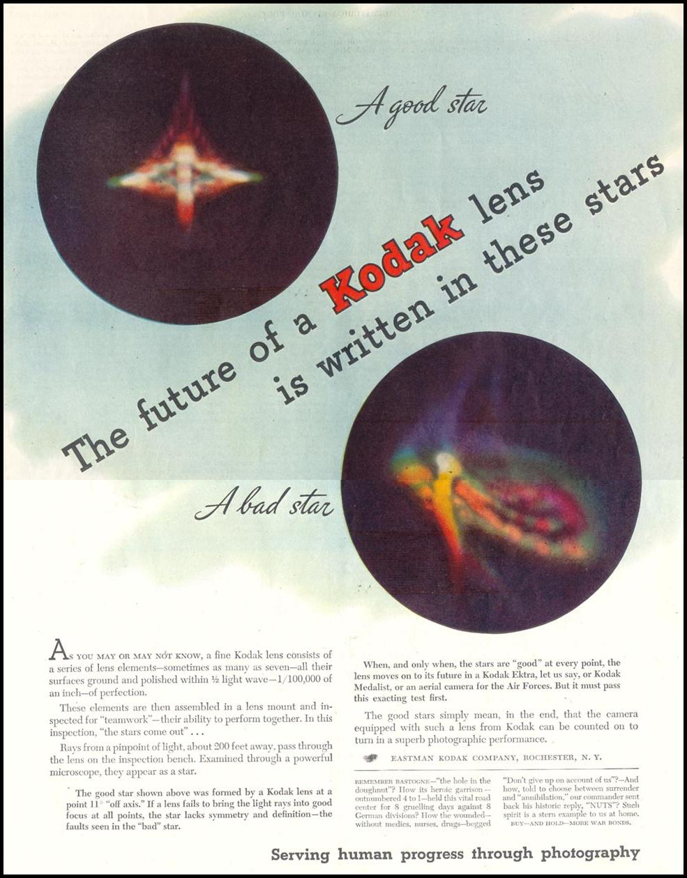 KODAK PHOTOGRAPHIC LENSES SATURDAY EVENING POST 05/19/1945 p. 47