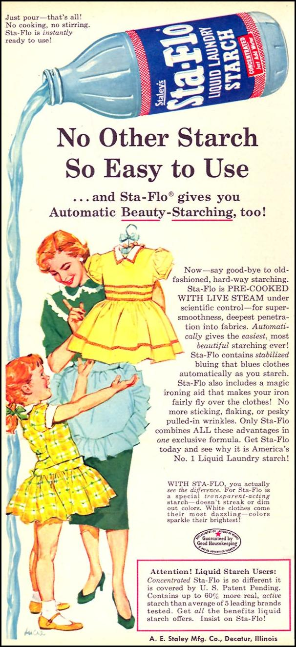 STA-FLO LIQUID LAUNDRY STARCH FAMILY CIRCLE 11/01/1957 p. 56