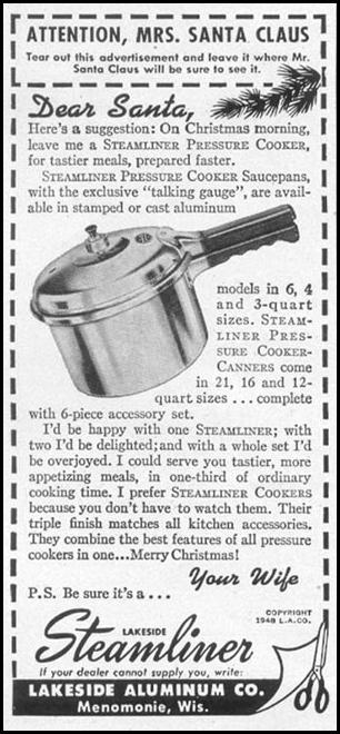 LAKESIDE STEAMLINER PRESSURE COOKER WOMAN'S DAY 12/01/1948 p. 102