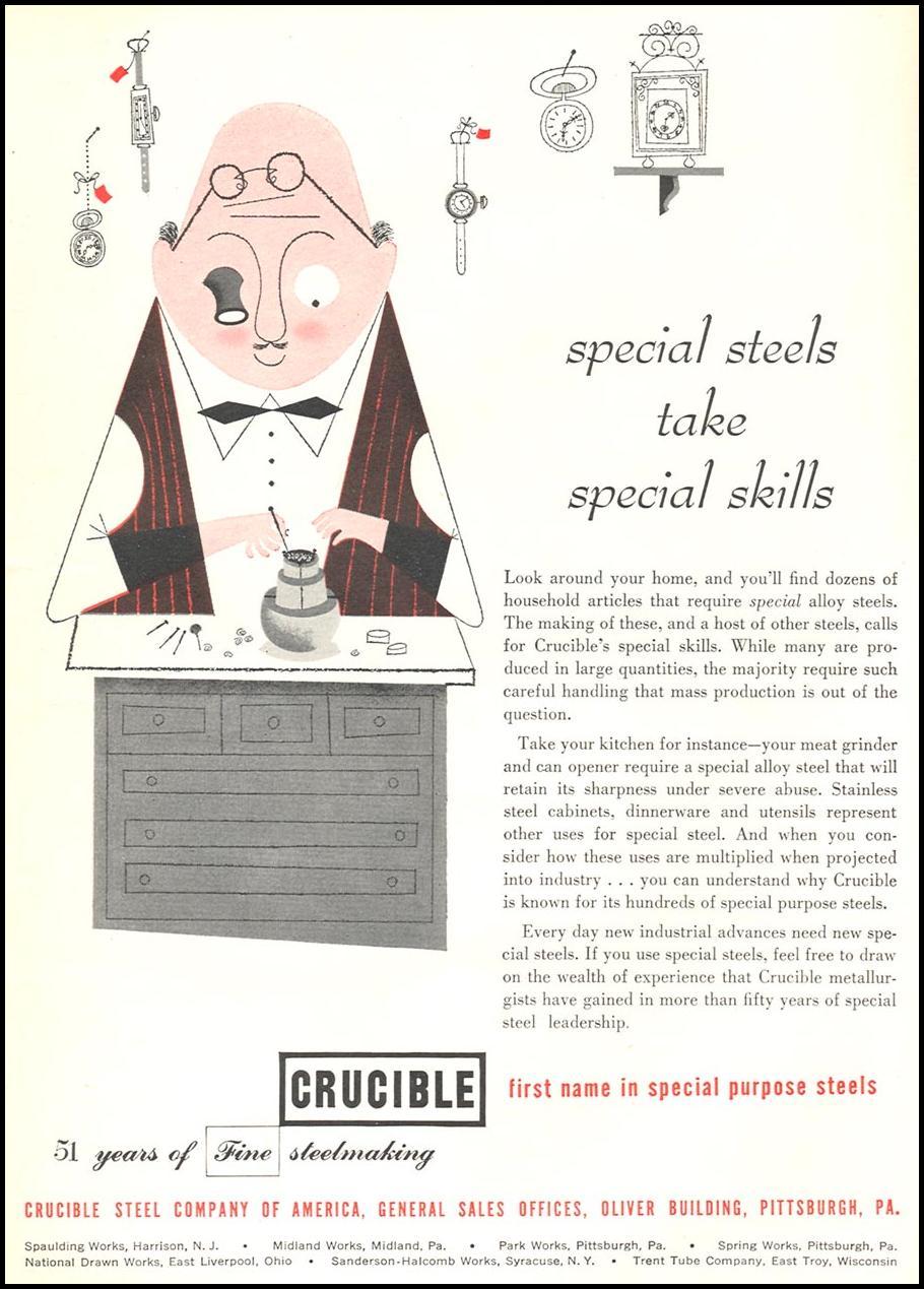 CRUCIBLE SPECIAL PURPOSE STEELS NEWSWEEK 06/11/1951 p. 16