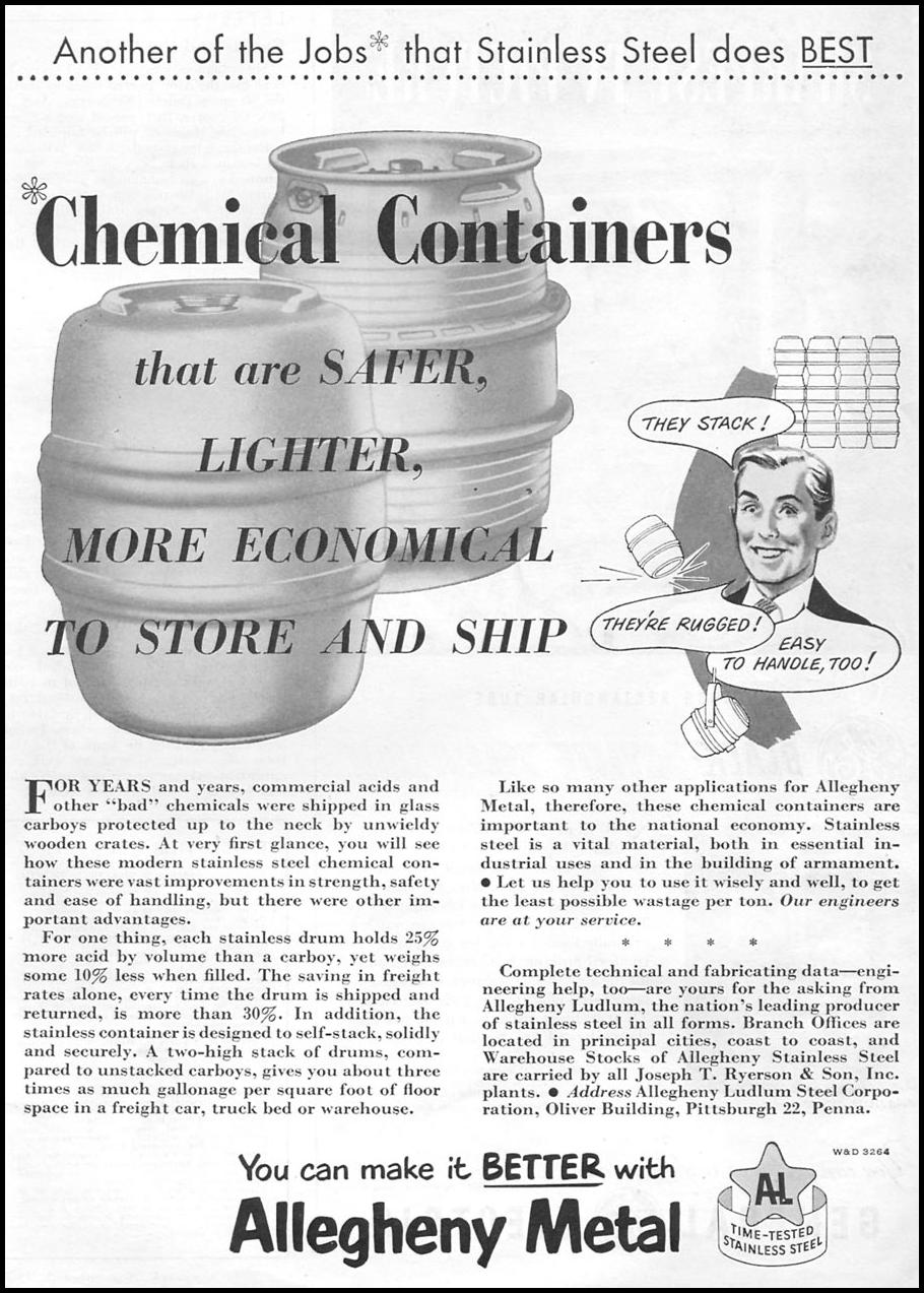 ALLEGHENY STAINLESS STEEL NEWSWEEK 09/03/1951 p. 1