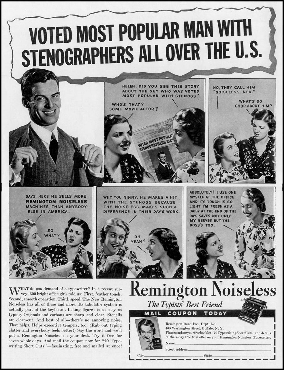 REMINGTON NOISELESS TYPEWRITERS LIFE 07/26/1937 p. 2