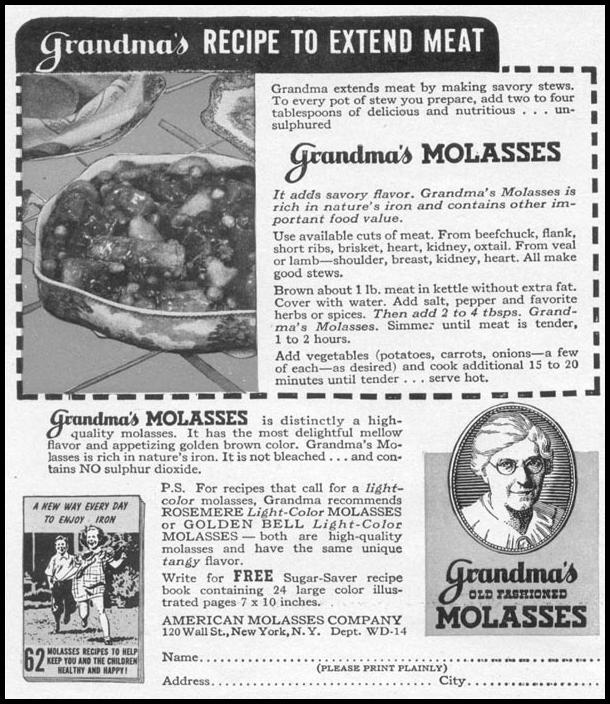GRANDMA'S OLD FASHIONED MOLASSES WOMAN'S DAY 05/01/1943 p. 58